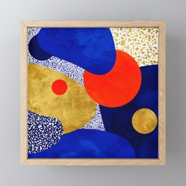 Terrazzo galaxy blue night yellow gold orange Framed Mini Art Print