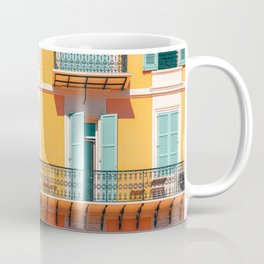 Charming Houses, Cannes City Print, Summer Travel Print, Retro Photo, Vintage Architecture, Cannes City, Urban Details Photography, Orange House, Turquoise and Orange Coffee Mug