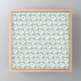 Daisies In The Summer Breeze - Green Grey White Framed Mini Art Print