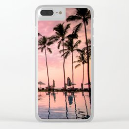 Pastel Sunset Palms Clear iPhone Case