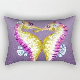 Seahorse Kiss Purple Rectangular Pillow
