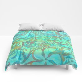 Polynesia Teal Print Comforters