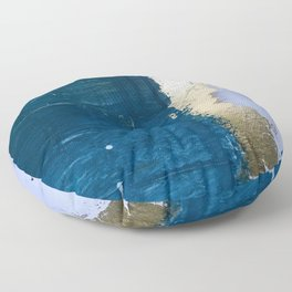 Rain [1]: a minimal, abstract mixed-media piece in blues, white, and gold by Alyssa Hamilton Art Floor Pillow