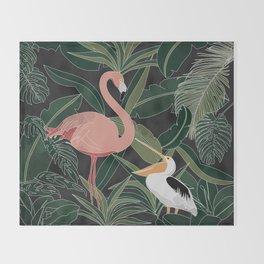Flamingo and Pelican Throw Blanket