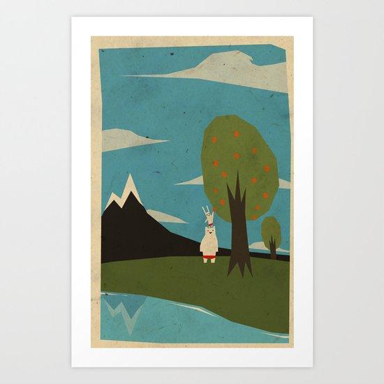 Yeti hearts bunny Art Print