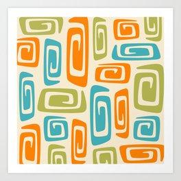 Mid Century Modern Cosmic Abstract 738 Orange Blue and Green Art Print