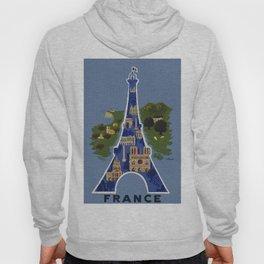Vintage France Eiffel Tower Travel Poster Hoody