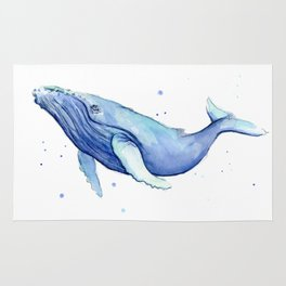 Humpback Whale Watercolor Animal Painting Nursery Animals Rug