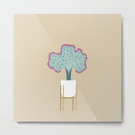 Coral Cactus in a legged planter Metal Print