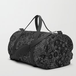 Clockwork B&W inverted / Cogs and clockwork parts lineart pattern Duffle Bag