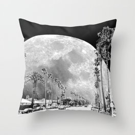 California Dream // Fantasy Moon Beach Sidewalk Black and White Palm Tree Silhouette Collage Artwork Throw Pillow
