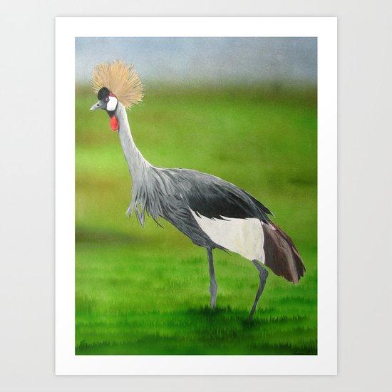 Crested Crane Art Print