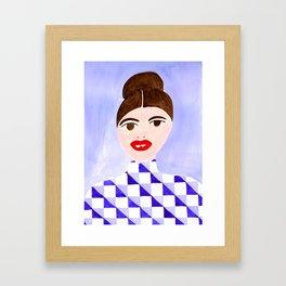 Checked Woman Framed Art Print