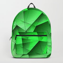 Abstract strict pattern of green and overlapping fragments and glass lines of irregular shape. Backpack