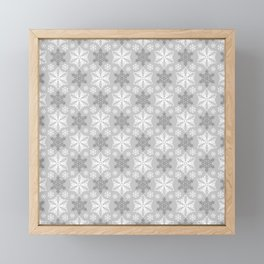 Gray and White Snowflake Pattern Framed Mini Art Print