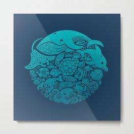 Aquatic Blues Metal Print