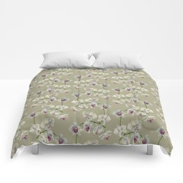 Orchid Watercolor Painting Comforters
