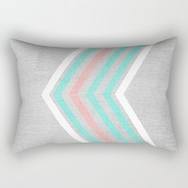 Teal, Pink and White Chevron on Silver Grey Wood Rectangular Pillow