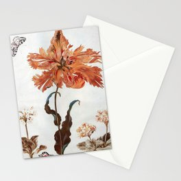 A Parrot Tulip Auriculas & Red Currants with a Magpie Moth Caterpillar Pupa by Maria Sibylla Merian Stationery Cards