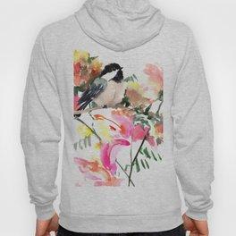 Chickadee bird art design, Birds and Flowers Hoody
