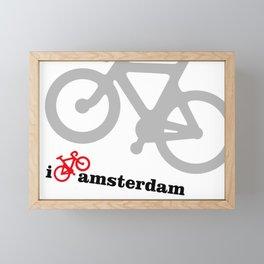 I Love Amsterdam - Red Bike Framed Mini Art Print