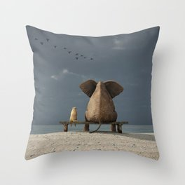 elephant and dog sit on a beach Throw Pillow