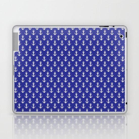 Blue Anchor Pattern Laptop & iPad Skin