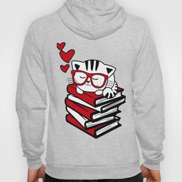 Reading Gift Funny Cat Book Reader Geek Glasses Bookworm Hoody