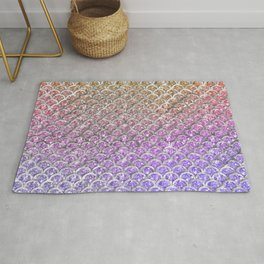 Pastel Glitter Mermaid Scallops Pattern Rug