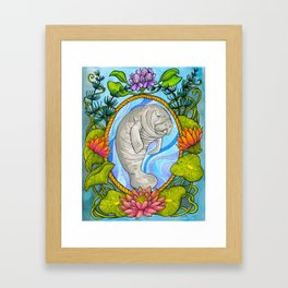 Manatee and Water Lilies Framed Art Print