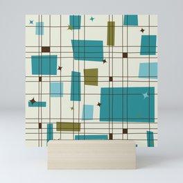 Mid-Century Modern (teal) Mini Art Print