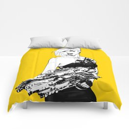 Badass girl with gun in comic pop art style Comforters