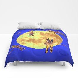 Golden Dragonflies Love Moon Light Comforters