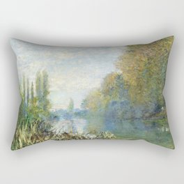 The Banks of The Seine in Autumn by Claude Monet Rectangular Pillow