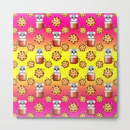Cute happy funny baby Schnauzer puppies sitting in little cappuccino coffee cups, sweet Kawaii adorable yummy chocolate chip cookies cartoon bright sunny yellow pink design. Metal Print
