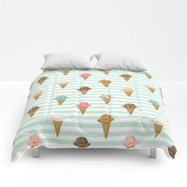 ice cream cones flavors mint stripes food fight apparel and gifts Comforters
