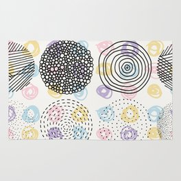 Black and colorful aisles cute modern pattern Rug