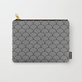 Black Concentric Circle Pattern Carry-All Pouch
