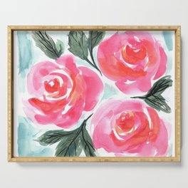 Farmhouse and Shabby Chic Rose Bouquet Chintz Rose Florals American Country English Serving Tray