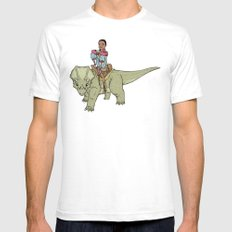 A Boy and his Dinosaur SMALL White Mens Fitted Tee
