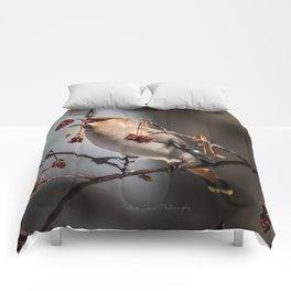Cedar Waxwing Berry Flip Comforters
