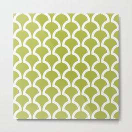 Classic Fan or Scallop Pattern 454 Olive Green Metal Print