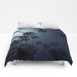 Palm Trees, Night Sky, Stars, Moon Comforters