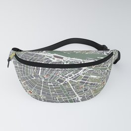 Amsterdam city map engraving Fanny Pack
