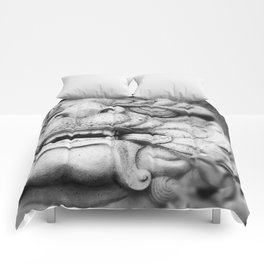 Foo Dog - black and white Comforters