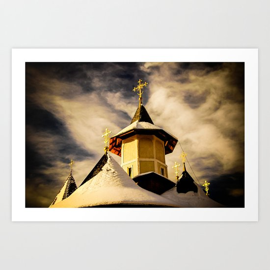 The Crosses of the Katholikon at Petru Voda Monastery, Romania Art Print