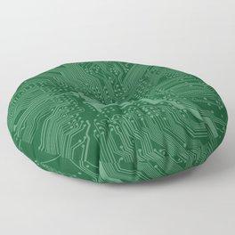 Green Geek Motherboard Circuit Pattern Floor Pillow