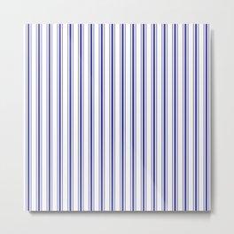 Wide Navy Blue Mattress Ticking Stripes on White Metal Print