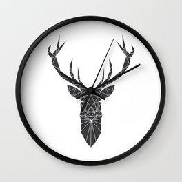 Grey Deer Head Illustration Wall Clock