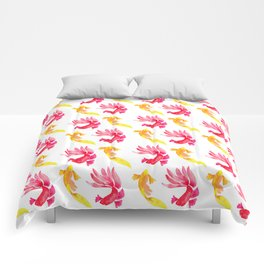 Tropical Fish Pattern (red and yellow palette) Comforters